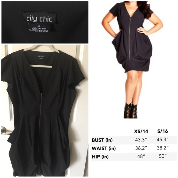 3e37e3260e3 City Chic Dresses | Black Zip Front Pleated Tunic Dress | Poshmark